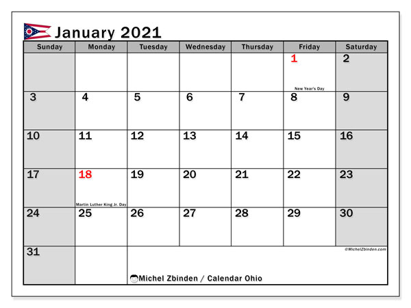 January 2021 Calendar, with the holidays of Ohio. Free printable calendar with public holidays.
