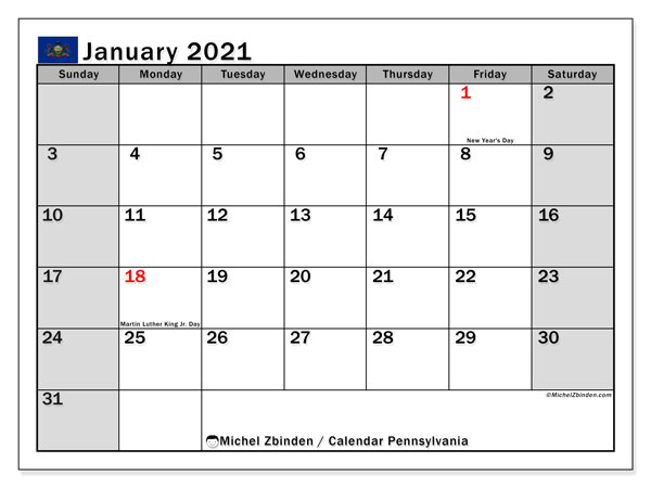 January 2021 Calendar, with the holidays of Pennsylvania. Free printable calendar with public holidays.