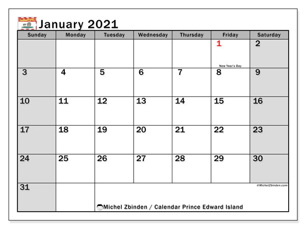 January 2021 Calendar, with the holidays of Prince Edward Island. Free printable calendar with public holidays.