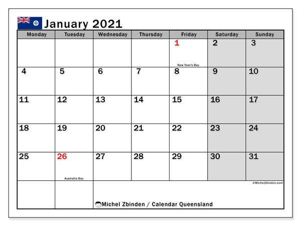 January 2021 Calendar, with the holidays of Queensland. Holidays calendar to print free.