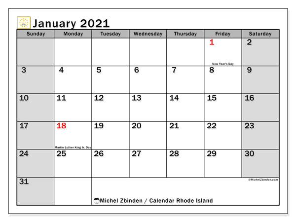 January 2021 Calendar, with the holidays of Rhode Island. Holidays calendar to print free.