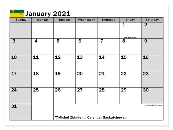 January 2021 Calendar, with the holidays of Saskatchewan. Free printable calendar with public holidays.