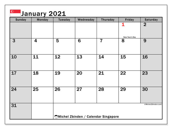 Printable January 2021 Calendar, Singapore (SS)