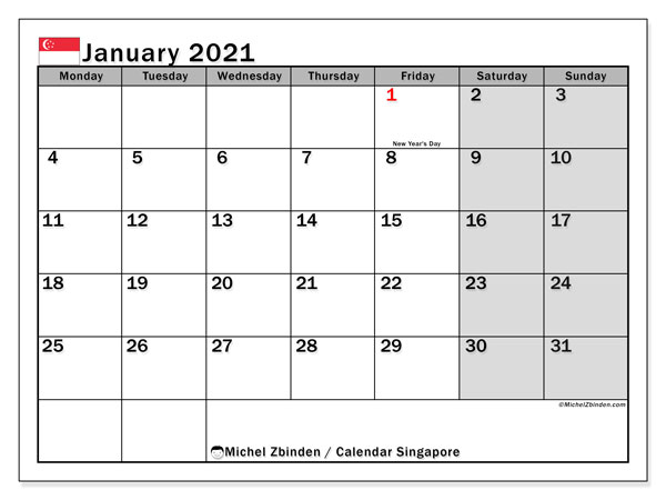 January 2021 Calendar, with the holidays of Singapore. Free printable calendar with public holidays.