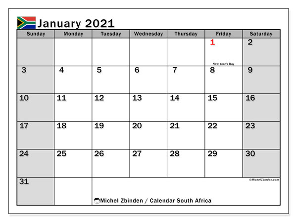 Printable January 2021 Calendar, South Africa (SS)