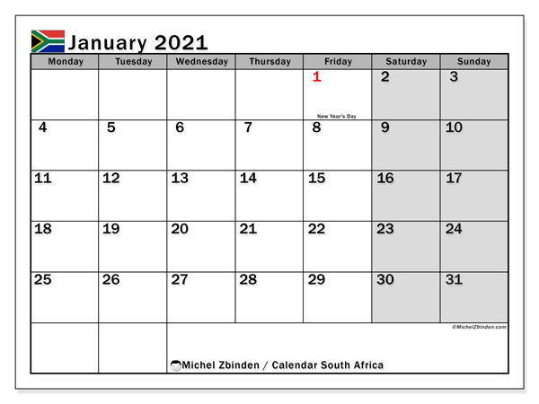 Calendar January 2021 - South Africa. Public Holidays. Monthly Calendar and free printable planner.