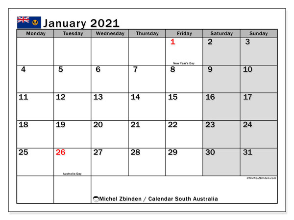 January 2021 Calendar, with the holidays of South Australia. Holidays calendar to print free.