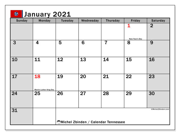 January 2021 Calendar, with the holidays of Tennessee. Holidays calendar to print free.