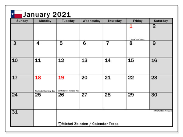 "Printable ""Texas"" calendar with public holidays. Monthly January 2021 calendar and free timetable to print."