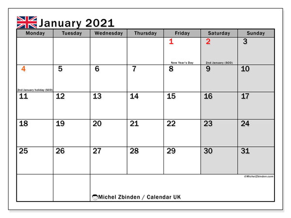 Printable January 2021 Calendar, UK