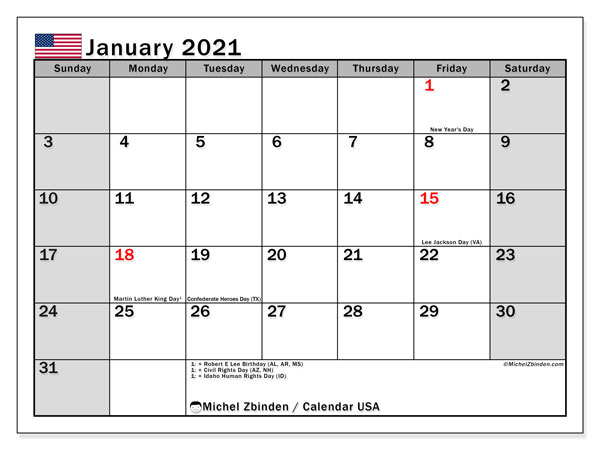 Printable January 2021 Calendar, USA