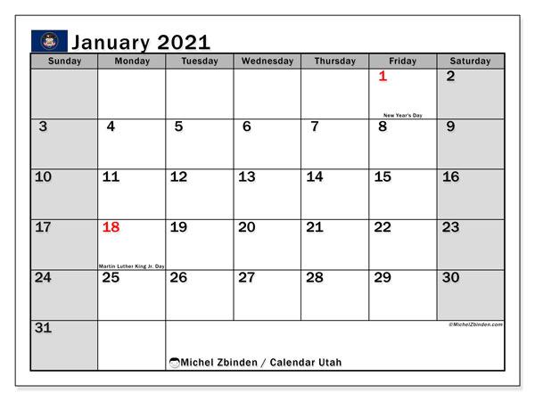 January 2021 Calendar, with the holidays of Utah. Free printable calendar with public holidays.
