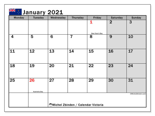 January 2021 Calendar, with the holidays of Victoria. Holidays calendar to print free.