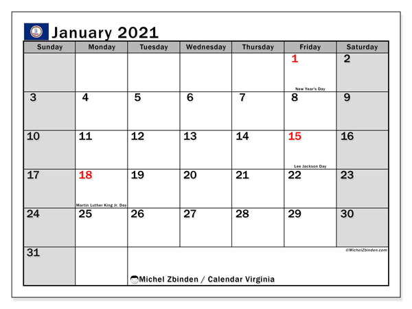 January 2021 Calendar, with the holidays of Virginia. Holidays calendar to print free.