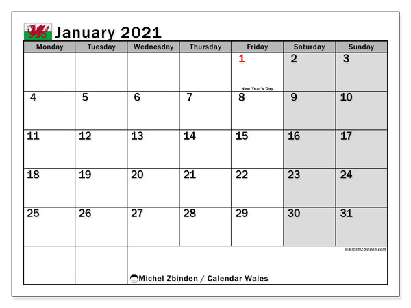 Calendar January 2021 - Wales. Public Holidays. Monthly Calendar and free agenda to print.