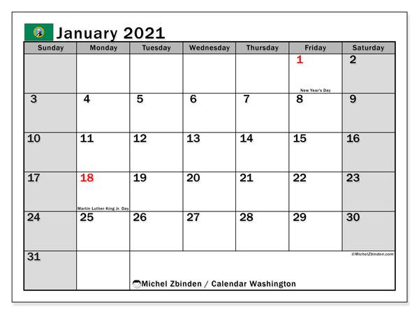 January 2021 Calendar, with the holidays of Washington. Holidays calendar to print free.