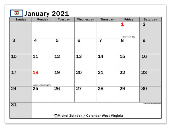 Calendar January 2021 - West Virginia. Public Holidays. Monthly Calendar and free agenda to print.