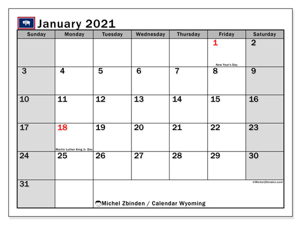 January 2021 Calendar, with the holidays of Wyoming. Holidays calendar to print free.