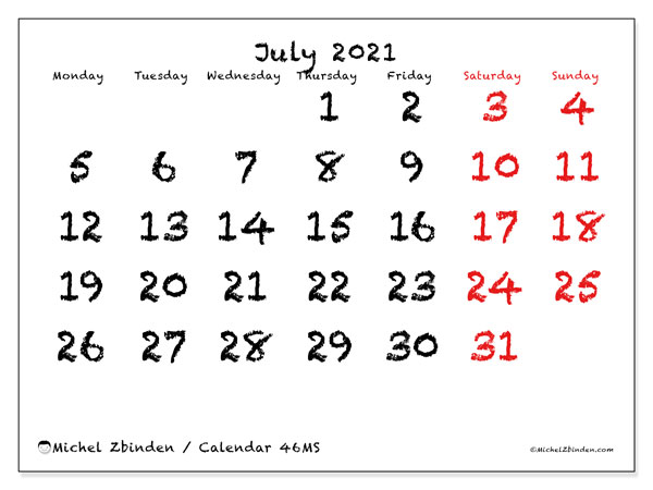 Printable calendar, July 2021, 46MS