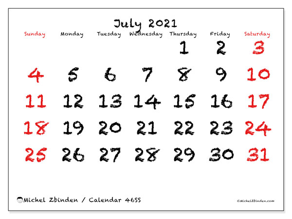 July 2021 Calendar, 46SS. Bullet journal to print free.