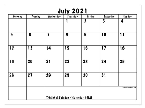 July 2021 Calendar, 48MS. Calendar for the month to print free.