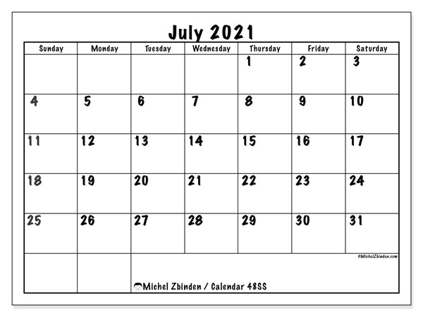 Printable calendars, July 2021, Sunday - Saturday