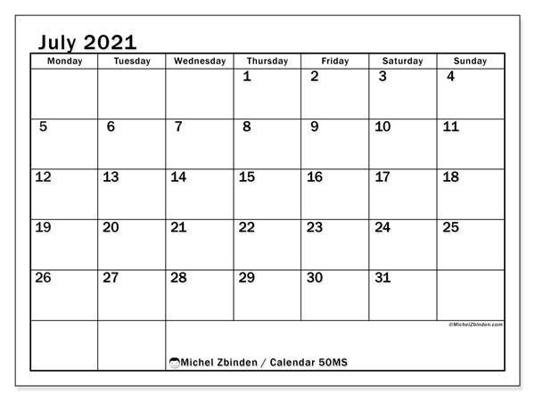 Printable calendar, July 2021, 50MS