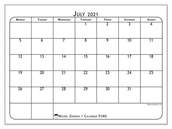 Printable calendar, July 2021, 51MS