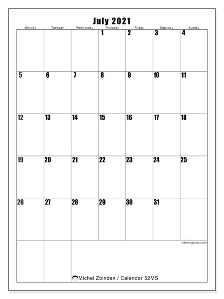 Printable calendar, July 2021, 52MS