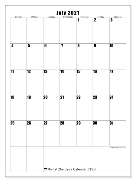 July 2021 Calendar, 52SS. Free printable monthly calendar.