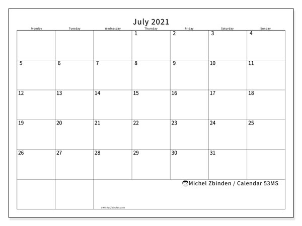 Printable calendar, July 2021, 53MS