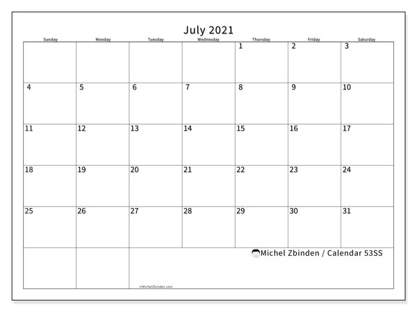 July 2021 Calendar, 53SS. Free calendar to print.