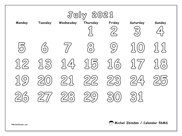 Printable calendar, July 2021, 56MS