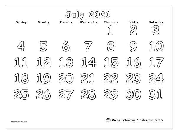 July 2021 Calendar, 56SS. Free printable monthly calendar.