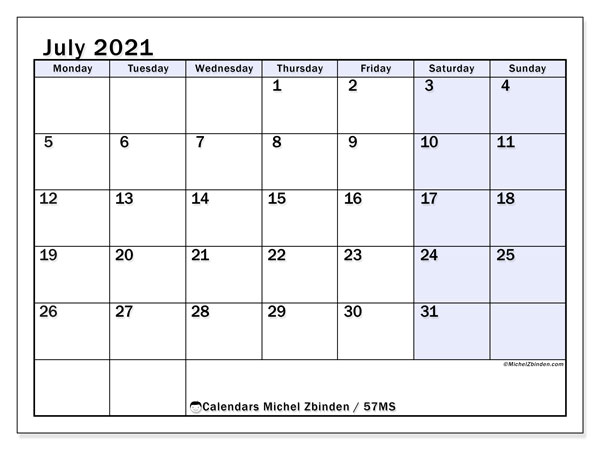 Calendar July 2021 - 57MS. Small Purple. Monthly Calendar and free agenda to print.