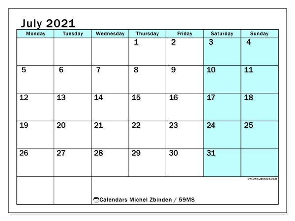 July 2021 Calendar, 59MS. Planner to print free.