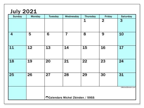 July 2021 Calendar, 59SS. Monthly calendar to print free.