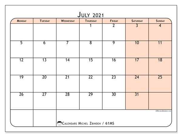 Calendar July 2021 - 61MS. Back to earth. Monthly Calendar and free planner to print.