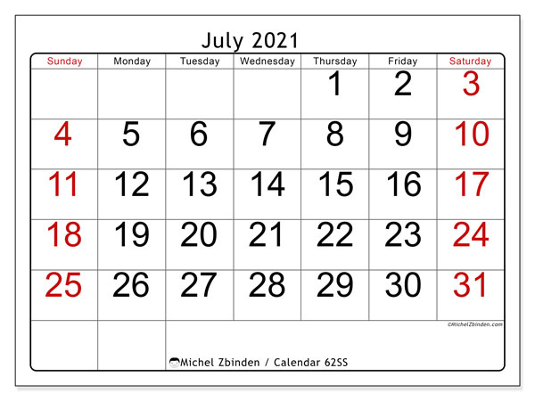 Calendar July 2021 - 62SS. Easy to read. Monthly Calendar and free timetable to print.