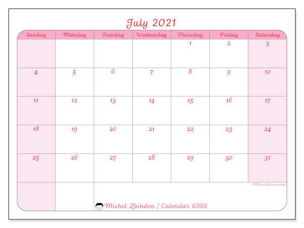 July 2021 Calendar, 63SS. Free planner to print.