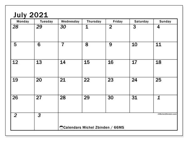 July 2021 Calendar, 66MS. Free printable planner.