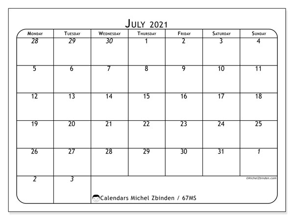 "Printable July 2021 calendar. Monthly calendar ""67MS"" and free printable agenda"