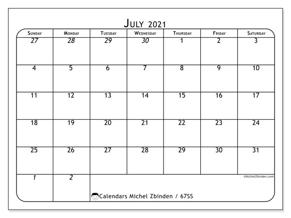 July 2021 Calendar, 67SS. Free calendar to print.