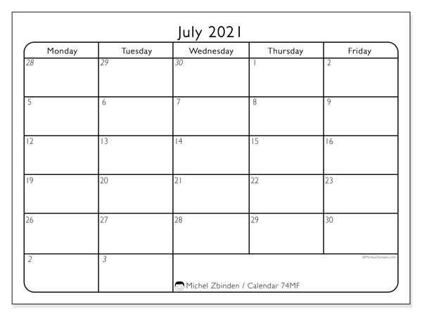 Printable calendar, July 2021, 74MS