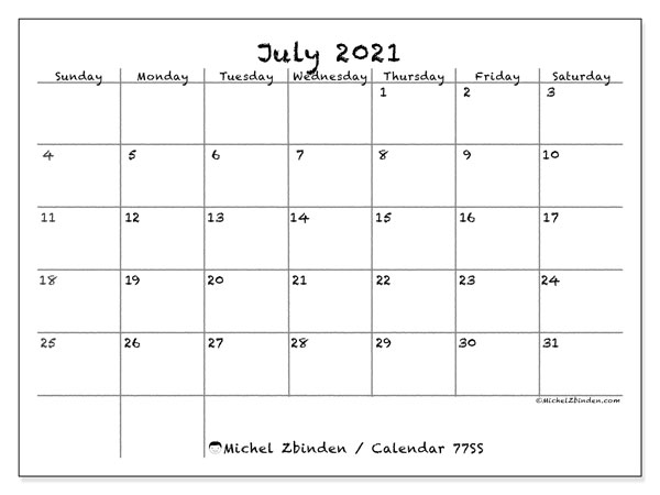 July 2021 Calendar, 77SS. Planner to print free.