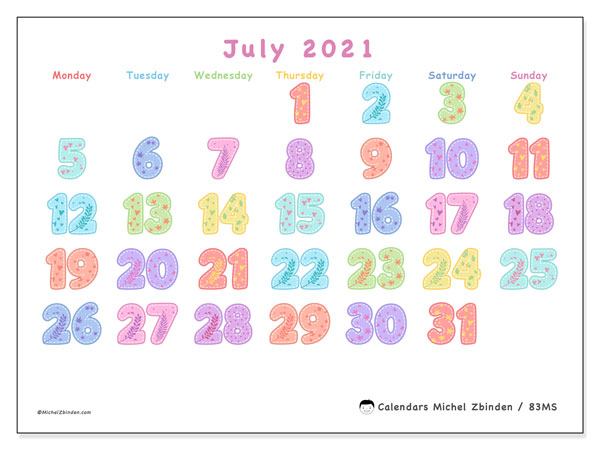 July 2021 Calendar, 83MS. Free printable monthly calendar.