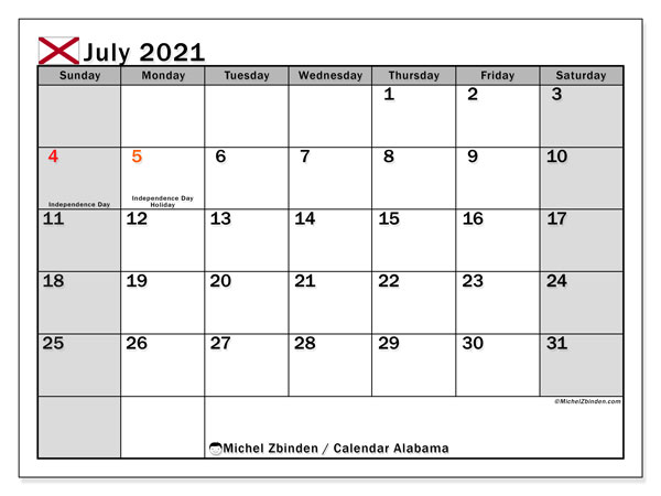 July 2021 Calendar, with the holidays of Alabama. Free printable calendar with public holidays.