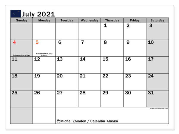 July 2021 Calendar, with the holidays of Alaska. Holidays calendar to print free.