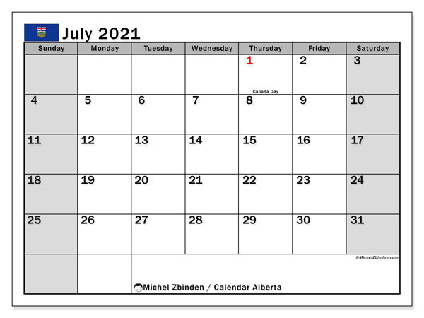 "Printable ""Alberta"" calendar with public holidays. Monthly July 2021 calendar and free planner to print."