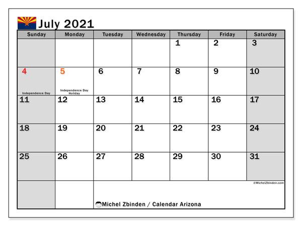 July 2021 Calendar, with the holidays of Arizona. Holidays calendar to print free.